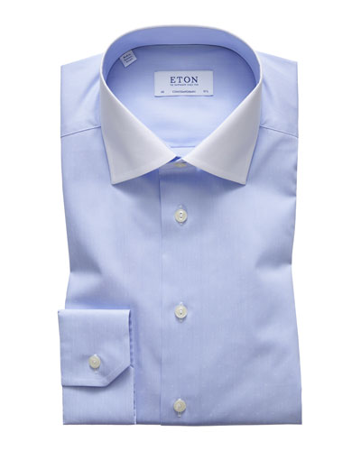 Men's Contemporary Fit White-Collar Solid Dress Shirt