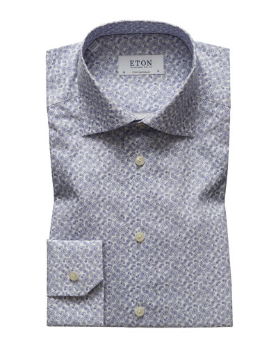 Men's Contemporary Fit Paisley Pines Print Dress Shirt