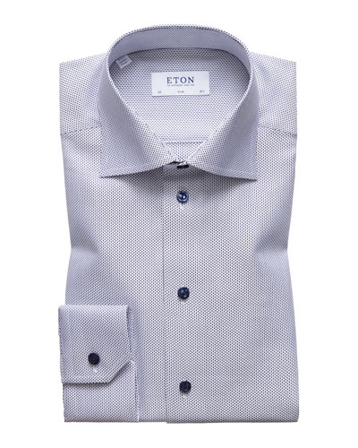 Men's Slim Fit Textured Solid Dress Shirt