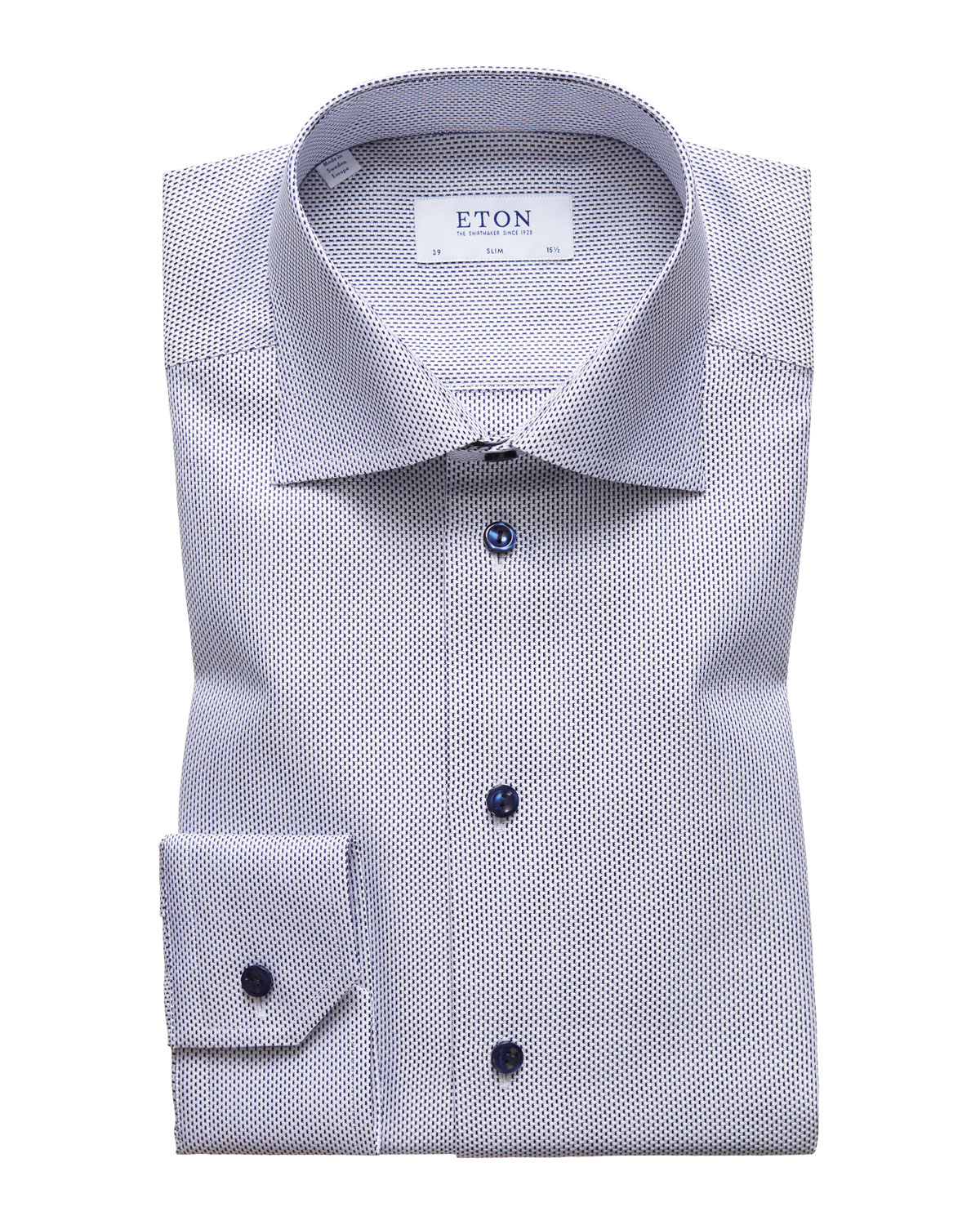 ETON Men'S Slim Fit Textured Solid Dress Shirt in Navy