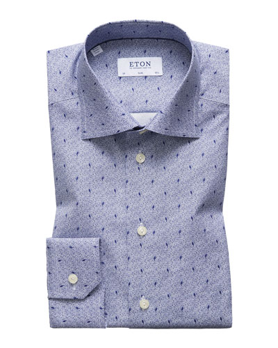 Men's Slim Fit Neat Print Dress Shirt