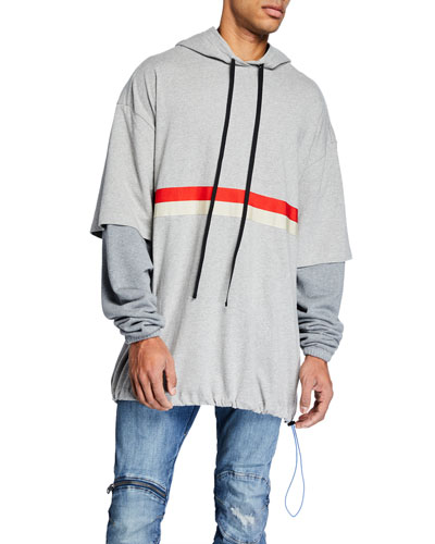 Men's Chest-Striped Pullover Hoodie