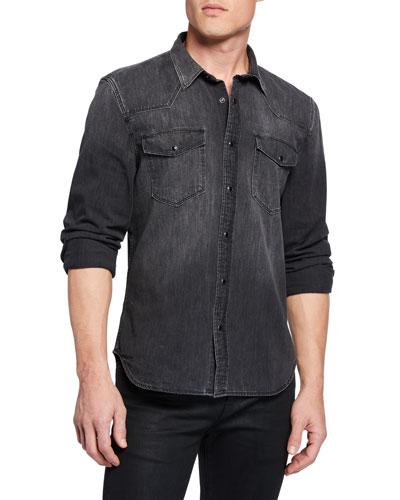 Men's Western Shirt in Greystone Black