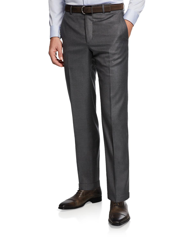 SANTORELLI Men'S 130S Wool Dress Pants in Medium Gray