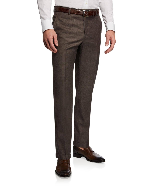 SANTORELLI Men'S 130S Wool Dress Pants in Brown
