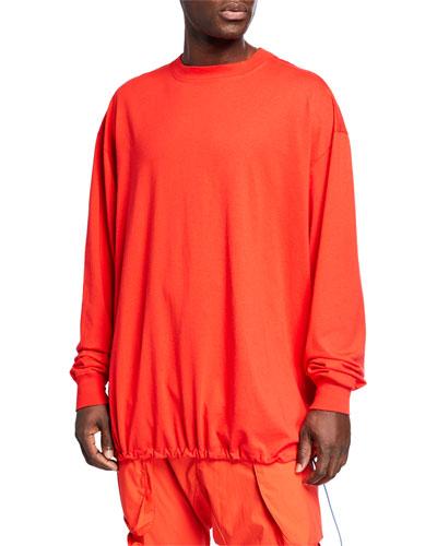 Men's Drawstring-Hem Long-Sleeve T-Shirt