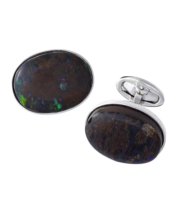 Silver Ammolite Cuff Links