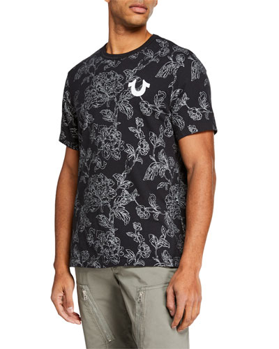Men's Allover Bloom-Print T-Shirt