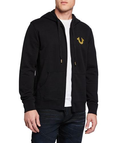 Men's Metallic-Logo Hoodie Sweatshirt