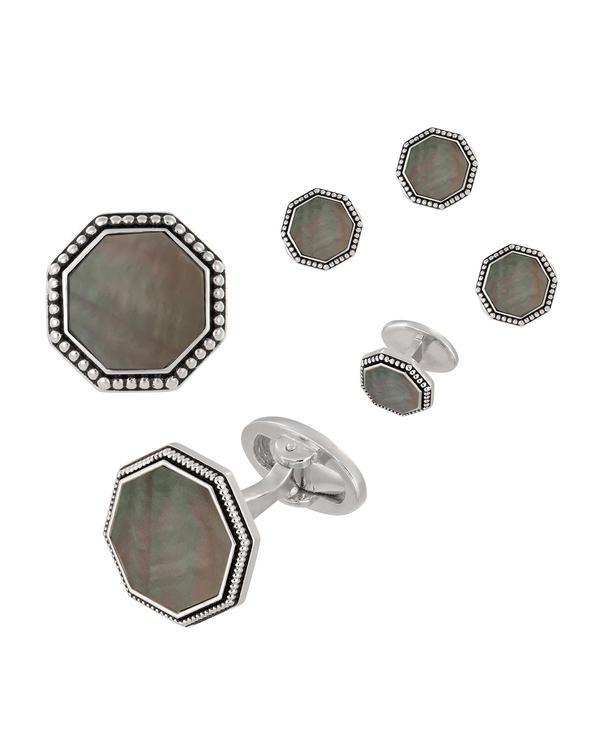 Beaded Octagonal Mother-of-Pearl Cuff Links & Studs Set