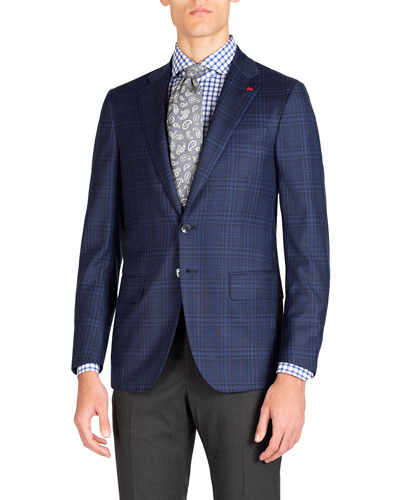 Men's Tonal Plaid Two-Button Jacket