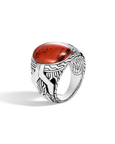 Men's Classic Chain Signet Ring w/ Red Jasper
