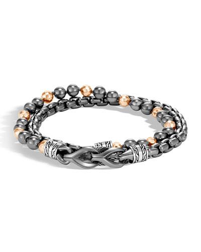 Men's Asli Classic Chain Double-Wrap Bracelet, Black/Gray