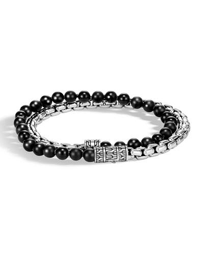 Men's Classic Chain Double-Wrap Bracelet, Black/Silver