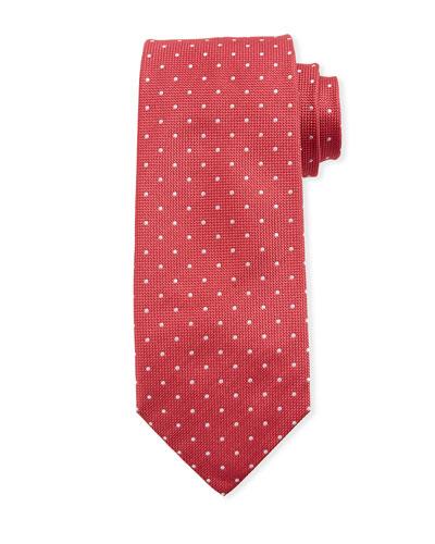 Dot-Pattern Silk Tie, Red