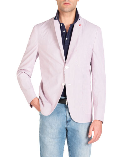 Men's Striped Seersucker Blazer