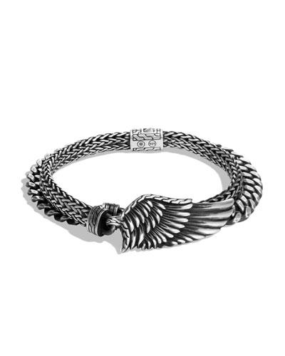 Men's Legends Eagle Silver Double-Wrap Bracelet