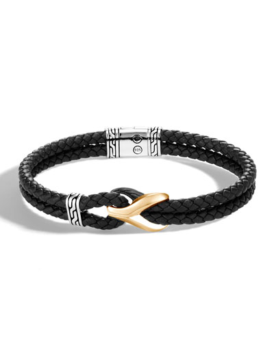 Men's Classic Chain 18k Gold Leather Bracelet