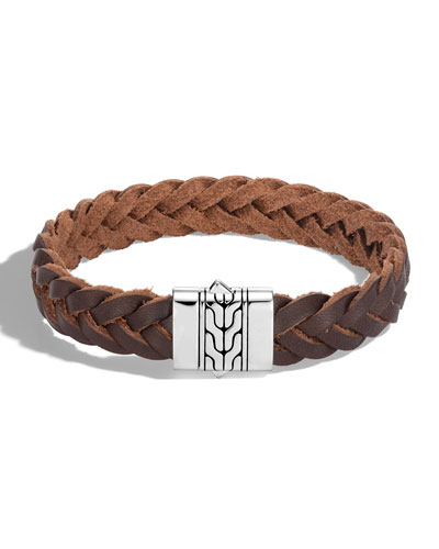 Men's Classic Chain Braided Leather Bracelet w/ Silver Clasp