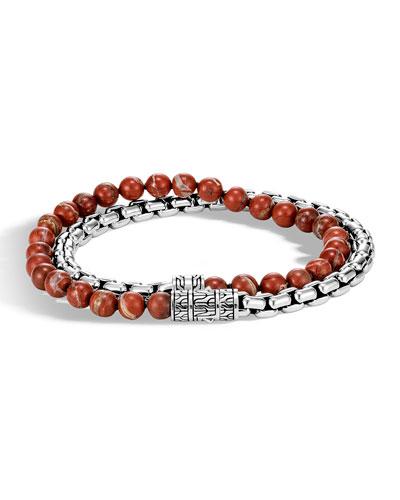 Men's Classic Chain Double-Wrap Bracelet w/ Red Jasper