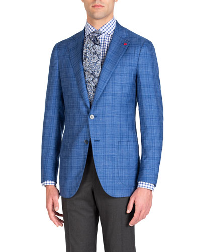 Men's Linen-Effect Plaid Two-Button Jacket