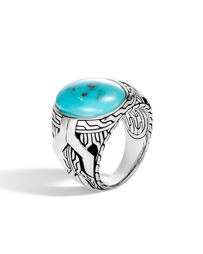 Men's Classic Chain Signet Ring w/ Turquoise/Pyrite