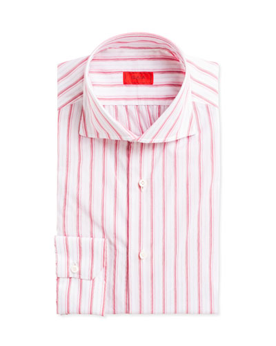 Multi-Stripe Cotton Dress Shirt, Pink