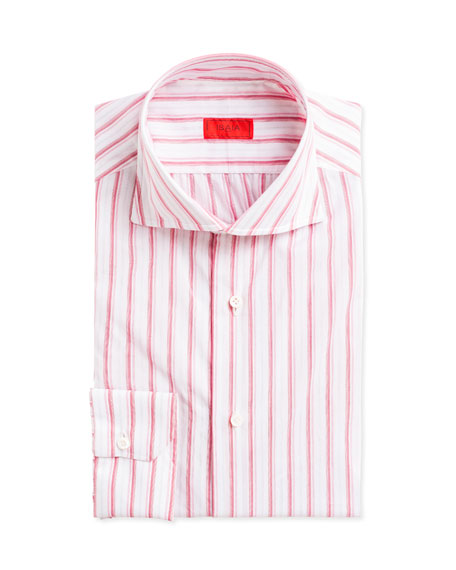 Isaia Multi-Stripe Cotton Dress Shirt, Pink