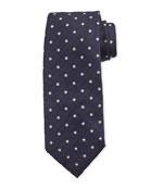 Isaia Dot-Pattern Silk Tie, Navy Blue