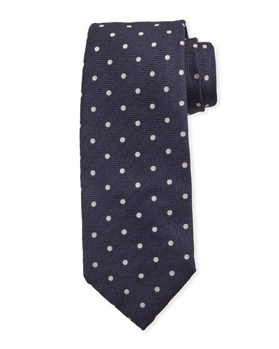 Dot-Pattern Silk Tie, Navy Blue