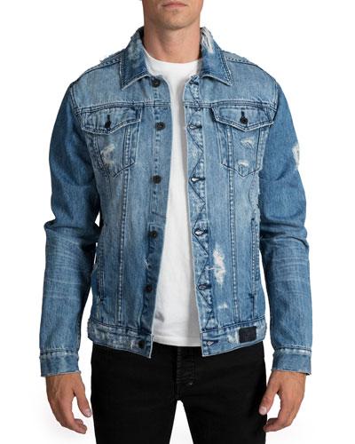 1ee67fae Quick Look. PRPS · Men's Light Wash Destroyed Denim Jacket