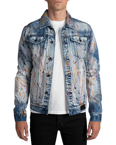 Men's Paint Splatter Denim jacket