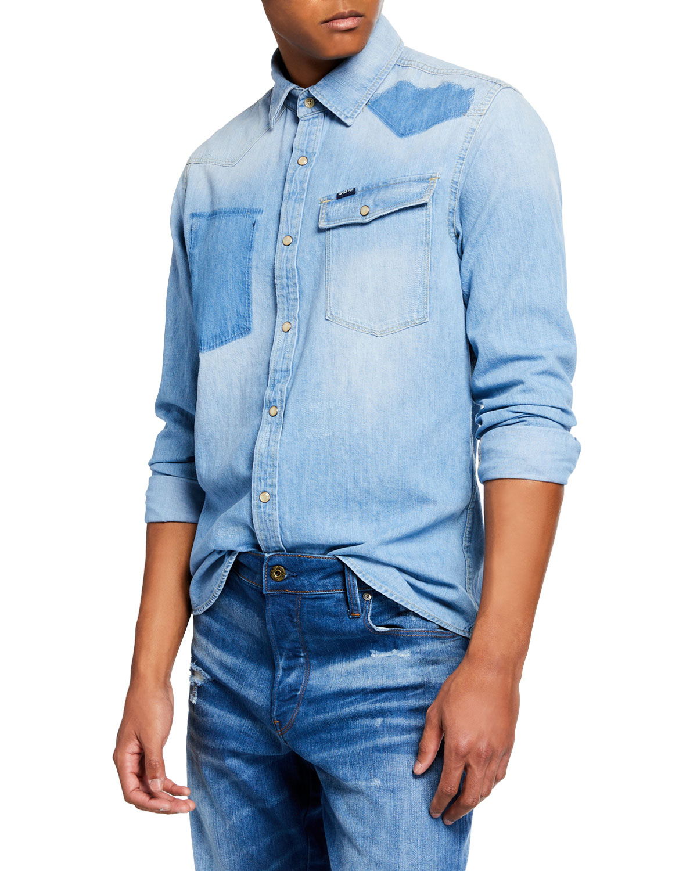 G-STAR Men'S 3301 Light Vintage Aged Denim Shirt in Blue