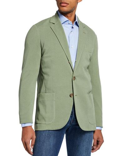Men's Basic Knit Three-Button Jacket, Olive