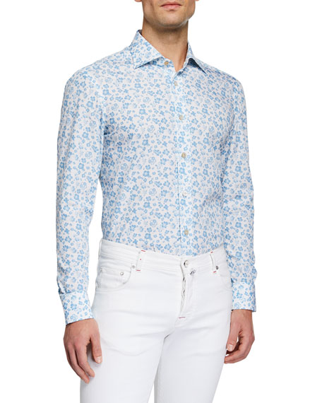 Kiton Men's Flower Print Sport Shirt