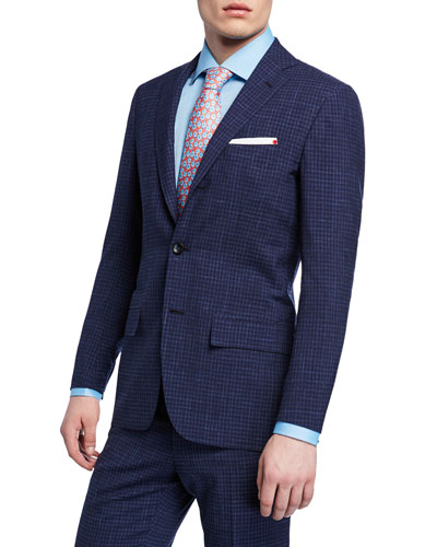 07edc134 Quick Look. Kiton · Men's Check Two-Piece Wool Suit. Available in Blue