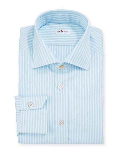 Men's Aqua Multi-Stripe Dress Shirt