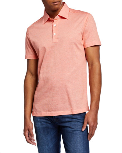 Men's Cotton Knit Polo Shirt, Orange