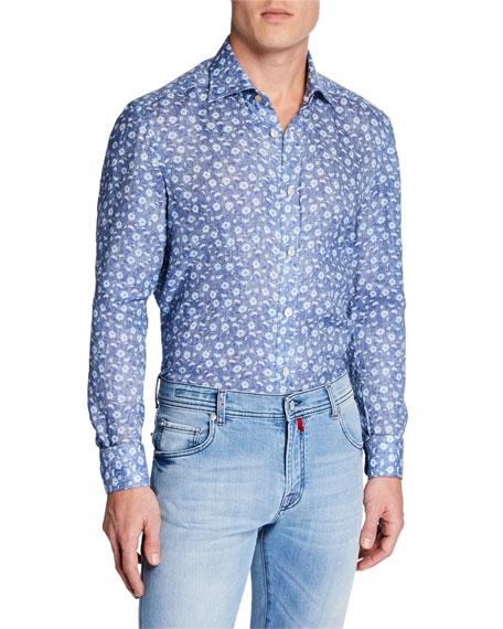 Kiton Men's Chambray Flowers Cotton Dress Shirt
