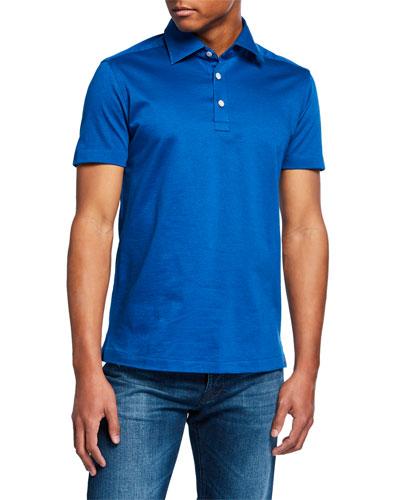 Men's Cotton Knit Polo Shirt, Royal