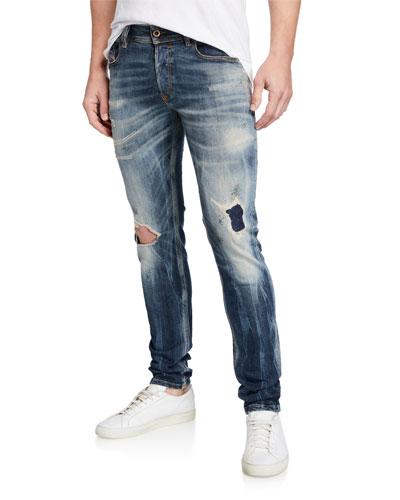 Men's Sleenker Skinny Ripped-Knee Jeans