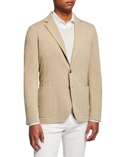 Men's Basic Knit Three-Button Jacket, Tan