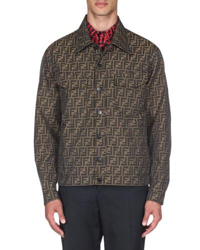 Men's Logo-Jacquard Denim Jacket