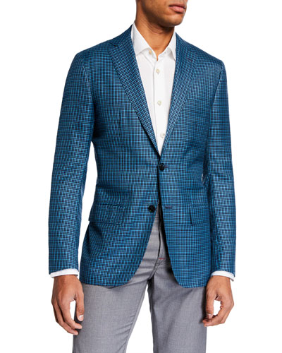 Men's Two-Tone Check Two-Button Jacket