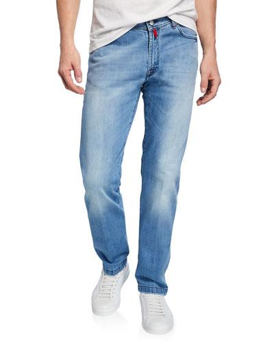 Men's 5-Pocket Light-Wash Jeans