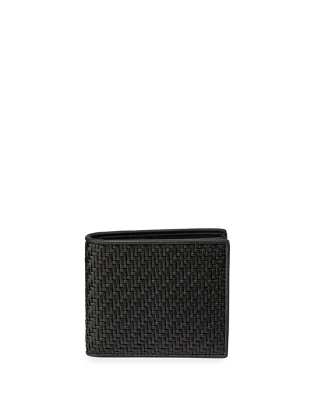 Ermenegildo Zegna Pelle Tessuta Woven Leather Bi-Fold Wallet, Black