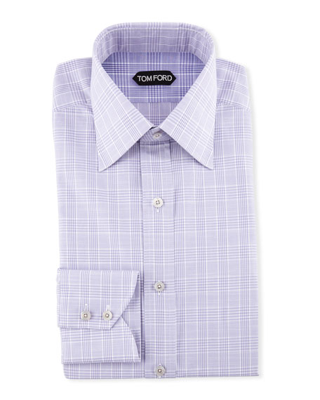 TOM FORD Men's Large Plaid Dress Shirt