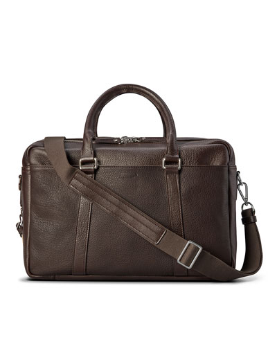 Men's Luxe Leather Double-Zip Laptop Briefcase