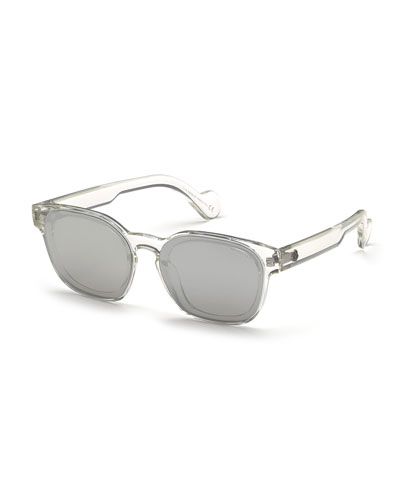 Men's Square Mirrored Acetate Sunglasses