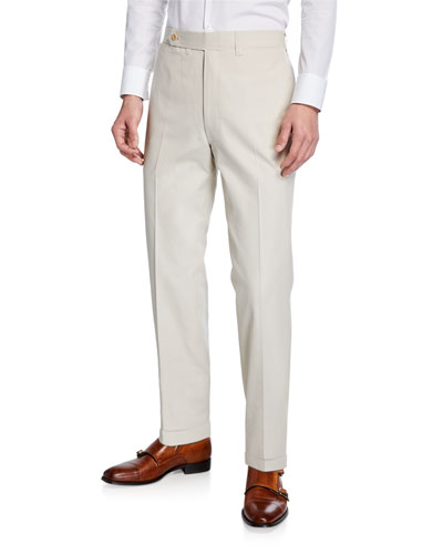 Men's Flat-Front Twill Trousers